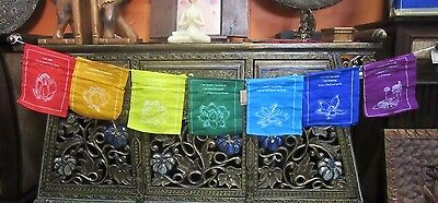 Beautiful Colourful w/ Quote and Lotus Picture Healing Tibetan Prayer Flags