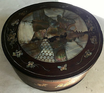 c1800s Mother of Pearl Inlay Sewing or Storage Box