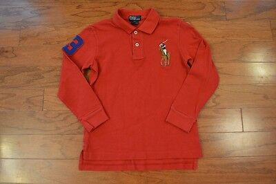 Boy's RALPH LAUREN POLO Red Long Sleeve Polo Shirt Large Pony Size 7