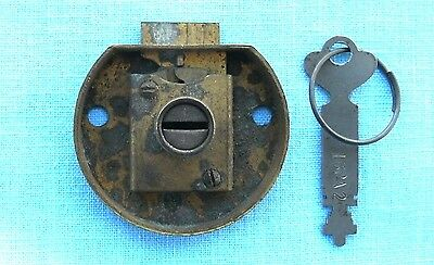 Old Brass 2 inch wide Round Body Double Sided key Drawer lock and key