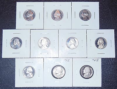 Proof Jefferson Nickel Lot! 10 Coins! 71 S thru 79 S!