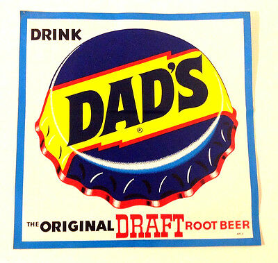 "VINTAGE ~ DAD'S ROOT BEER DECAL ~ APPROXIMATELY  12"" x 12"""
