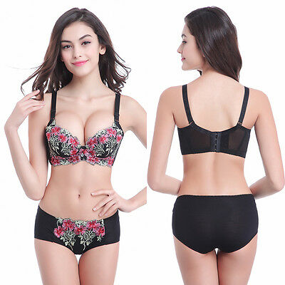 35e5ab967d835 Women Sexy Super Boost Push Up Bra Padded Side Support Plunge Lace Print Bra  Set