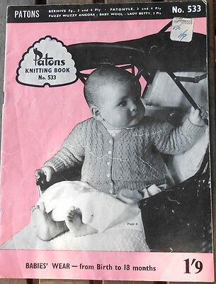 Vintage Patons Book 533 Baby Knitting Patterns from Birth to 18 months