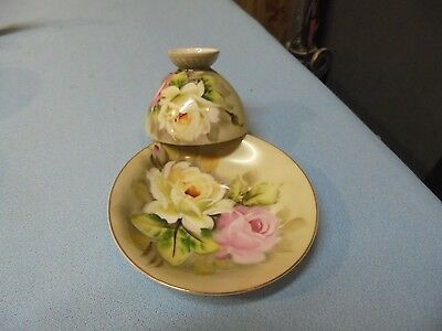 Vintage Hand Painted Cup & Saucer Gold Gild w Roses China Nice!