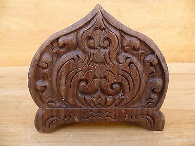 Timber Decorative Hand Carved Napkin Holder, Old Timber (D748)