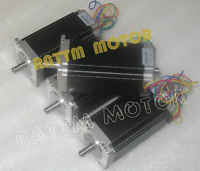 【USA Stock】 4 x Nema23 Stepper Motor 3A,425oz-in,112mm Dual Shaft for CNC Router