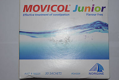 MOVICOL Junior CONSTIPATION RELIEF 30 X 6.9g SATCHELS FLAVOR FREE