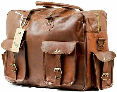NEW Vintage Handmade Goat Leather Duffle Bag Cabin Bag Leather Overnight Bag