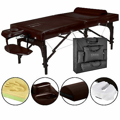 Master Massage Extra Wide 31 inch Supreme Portable Table Bed face port Brown