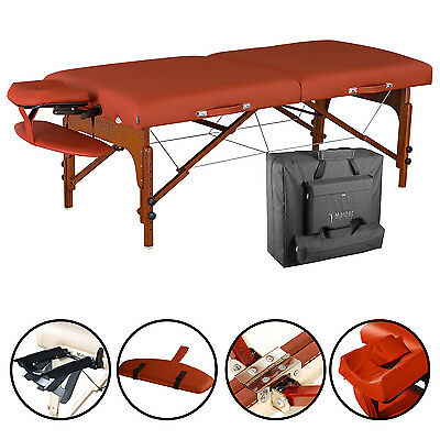 "Master Massage 31"" Santana Pro Portable Massage Table Package Reiki Mountain Red"