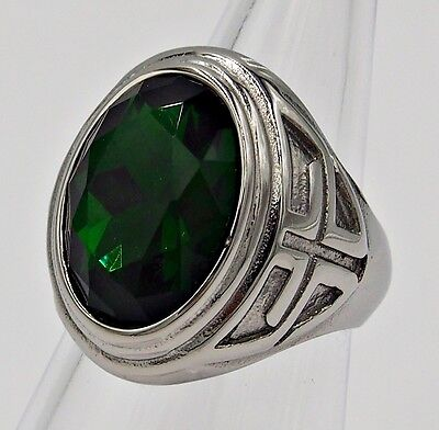 Men Ring Emerald Stainless Steel Silver Cross Knight Templar Medieval Big Size 9