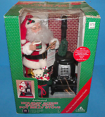 Holiday Creations Santa with Pot Belly Stove Lighted Animated Musical 1994