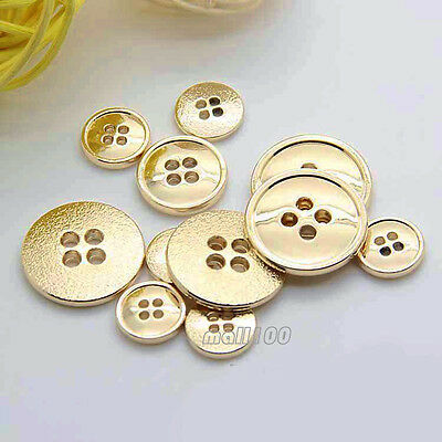 12pcs 4-Holes Gold Metal Buttons For Coat Shirt Sewing Craft 11 15 20mm