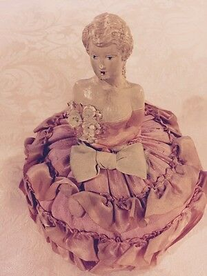 Antique Composition Half Doll Complete Pin Cushion Heavenly Pink 5 3/4""