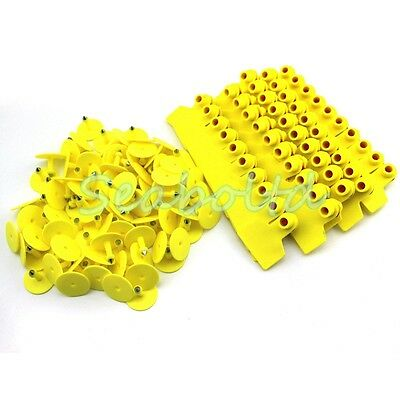 Yellow Blank Plastic Livestock Ear Tag Animal Tag for Goat Sheep Pig for 100Pcs