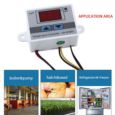 DC12V/AC220V Digital Temperature Controller Outlet Thermostat w/ Sensor Probe SG