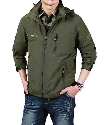 Mens Outdoor Waterproof Jackets Spring Thin Climbing Outwear with Hoody