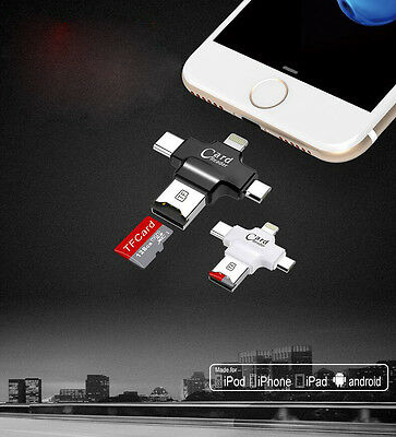4in1 Type C/Lightning/Micro USB/Micro SD Card Reader Adapter For iPhone Android