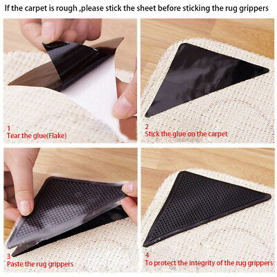 Non Slip Rug Gripper Carpet Mat Anti-slide Floor Reusable Washable Pack of 8