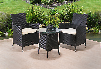 Rattan Garden Furniture 3Pc Patio Set Dining Set Chairs Coffee Table New Outdoor