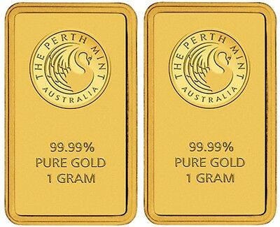 Perth Mint Gold 2 x 1g Minted Bullion Bars