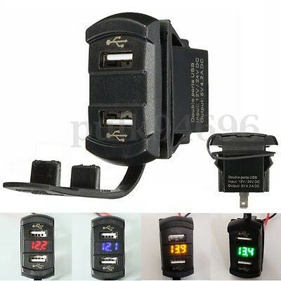 Marine Boat LED Voltmeter Dual USB Charger Power Plug Socket Rocker Switch 12V