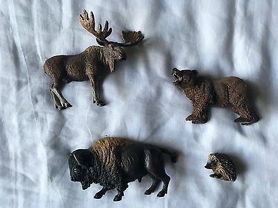 Schleich mixed lot - includes; American Buffalo, moose, brown bear & hedgehog