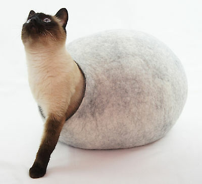Cat cave bed,house, from 100% wool for pet, handmade Color Snow Grey Size L.