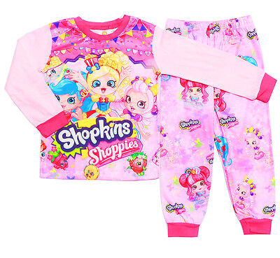 New Size 2-7 Kids Winter Girls Slim Pyjamas Shopkins Sleepwear Nighties Pjs Tee