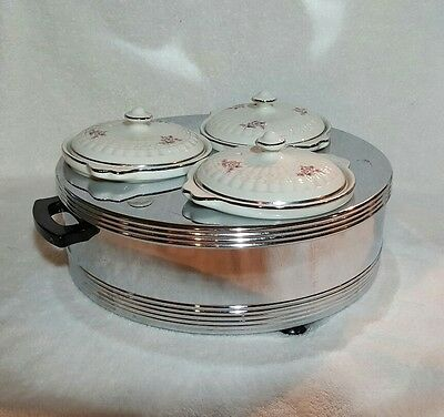 Vtg Forman Family Steam Table 3 Lidded Hall Ceramic Crocks Warmer Fondue Nice!