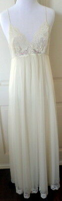Vintage 1960's Shadowline Nightgown Double Chiffon & Lace Ivory Small