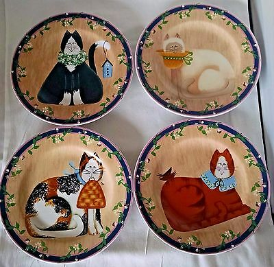 Garden Cats Salad Dessert Plates Stoneware Sakura Lot of 4