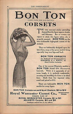 RARE 1908 Bon Ton Corsets Royal Worcester Advertisement Print Ad Vtg Antique