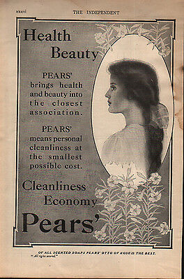 "1909 Pears Otto of Rose Soap ""HEALTH BEAUTY"" Vintage Print Advertisement Ad"