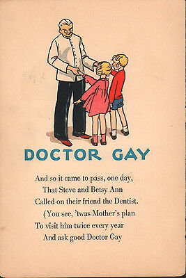 1930s-1940s vintage print Doctor Gay children dentist dental health