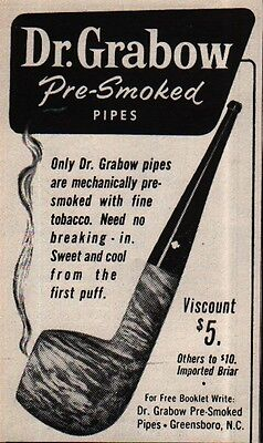 1961 DR.GRABOW Pre Smoked Pipes - Tobacco - Viscount - Great Gifts -  VINTAGE AD