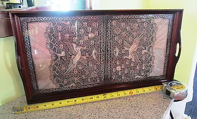 Vintage Wood  Handled Serving Tray  Fancy Cloth Under Glass