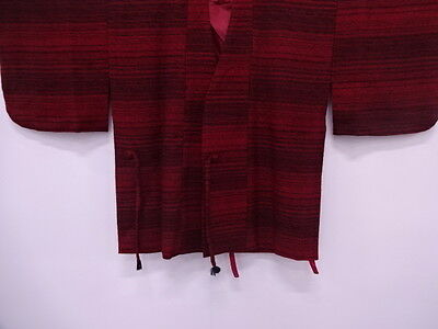 Vintage Japanese Kimono, Antique Dochugi / Woven Abstract / Wool / Red & Black