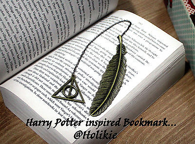Harry Potter Deathly Hallows Inspired Bronze Color Handmade Feather Bookmark 1pc