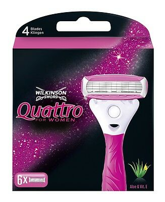 Wilkinson Sword Quattro For Women Razor Blades X6 Pack