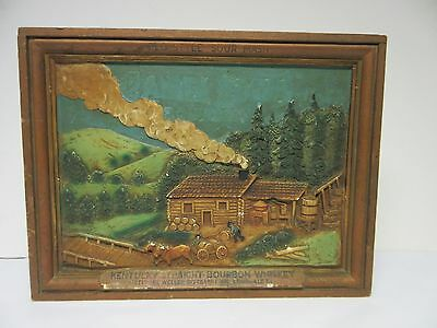 Old Cabin Still Kentucky Straight Bourbon Plaster Clay Picture Wall Art Sign Bar