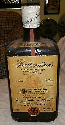 "1930's 20"" Tall Ballantine's  Scotch Whisky Whiskey Chalkware (?) Bottle Display"