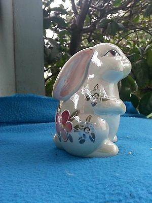 "Cute Opalescent Bunny Rabbit Figurine ""Flowers"""