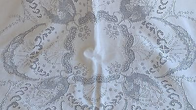 """Antique figural appanzoll lace embroidery  linen  tablecloth  68""""×65""""12 napkins"""