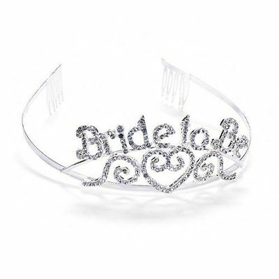 Bride to Be Tiara Wedding Bachelorette Party Crown Silver with Rhinestones