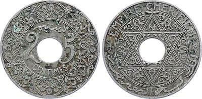 COIN Morocco 25 Centimes 1924 (ND) Y# 34