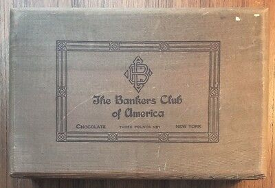 VINTAGE THE BANKERS CLUB OF AMERICA 3 lb CHOCOLATE BOX-- EMPTY