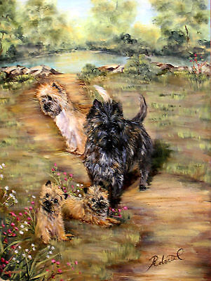 """Cairn Terrier group in field  dog art print size """"8 x 10"""""""