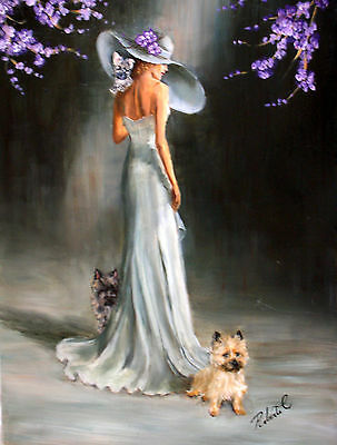 """Cairn Terrier with lady  dog art print size """"8 x 10"""""""